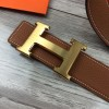 Original Design Quality Clemence Leather Belt Brown with H Buckle