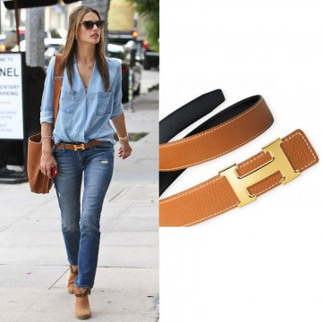 Top Quality Togo Leather Belt with H Buckle No 18k Logo