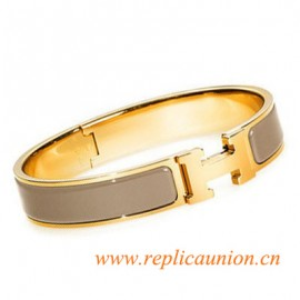 Original Clic H Narrow Bracelet in Candied Chestnut Enamel Gold Plated Hardware
