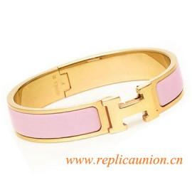 Original Clic H Narrow Bracelet in Pink Enamel Gold Plated Hardware