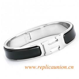 Original Clic H Narrow Bracelet in Black Enamel Silver Platinum Hardware