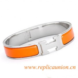 Original Clic H Narrow Bracelet in Orange Enamel Silver Platinum Hardware