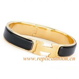 Original Clic H Narrow Bracelet in Black Enamel Gold Plated Hardware