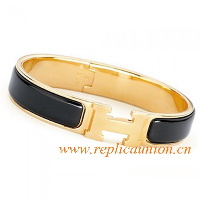 Original Clic H Narrow Bracelet In Black Enamel Gold Plated Hardware