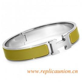 Original Clic H Narrow Bracelet in Green Enamel Silver Platinum Hardware