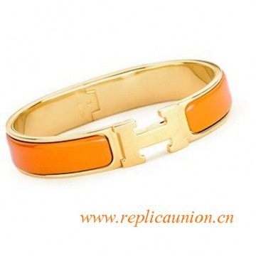 Original Clic H Narrow Bracelet in Orange Enamel Gold Plated Hardware