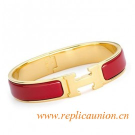 Original Clic H Narrow Bracelet in Red Enamel Gold Plated Hardware