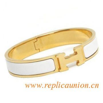 Original Clic H Narrow Bracelet in Snow White Enamel Gold Plated Hardware