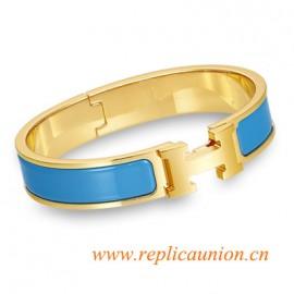 Original Clic H Narrow Bracelet in Sky Blue Enamel Gold Plated Hardware