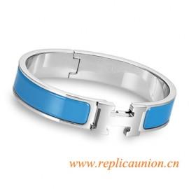 Original Clic H Narrow Bracelet in Sky Blue Enamel Silver Platinum Hardware