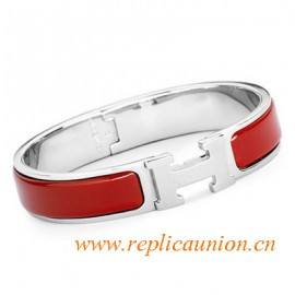 Original Clic H Narrow Bracelet in Red Enamel Silver Platinum Hardware