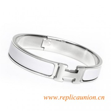Original Clic H Narrow Bracelet in Snow White Enamel Silver Platinum Hardware