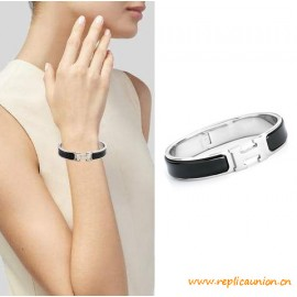 Top Quality Clic H Narrow Bracelet in Black Enamel Women Bracelets