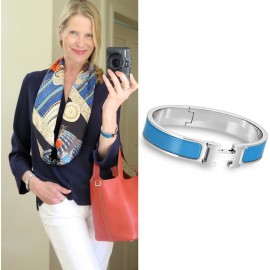 Top Quality Clic H Narrow Bracelet in Sky Blue Enamel Women Bracelets