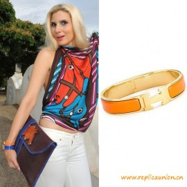 Top Quality Clic H Narrow Bracelet in Orange Enamel Women Bracelets