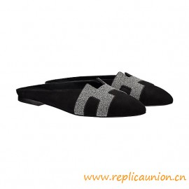Top Quality Roxane Mule Crystal Powder and Suede Goatskin Mules