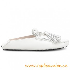 Gommino Mocassins in a slipper Version in Elegant Smooth Leather with Metal