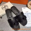 Original Oran H Sandals Epsom Leather Slippers with Leather Sole