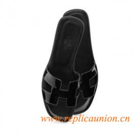 Original Full Black Oran H Sandals Patent Leather Slippers with Black Stitching