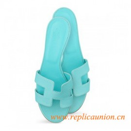 Oasis Original Ladies' Sandal in Epsom Leather with Leather Sole Sky Blue