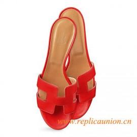 """Oasis Original Ladies' Sandal Sao Red in Calfskin 1.9"""" Stacked Heel"""