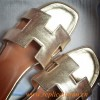 Original Silver or Gold Oran H Sandals Calfskin Leather Slippers