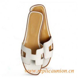 Original Snow White Oran H Sandals Calfskin Leather Slippers