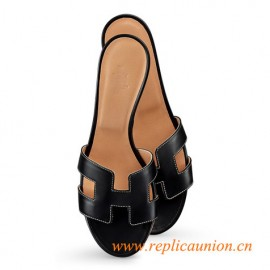 "Oasis Original Ladies' Sandal Black with White Stitching in Calfskin 1.9"" Stacked Heel"