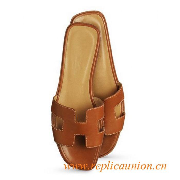 e9be35307dc Original Coffee Oran H Sandals Calfskin Leather Slippers