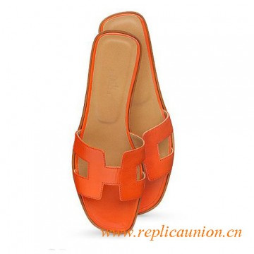 Original Orange Oran H Sandals Calfskin Leather Slippers