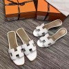 Top Quality Original Design H Sandals Calf Leather White Slippers