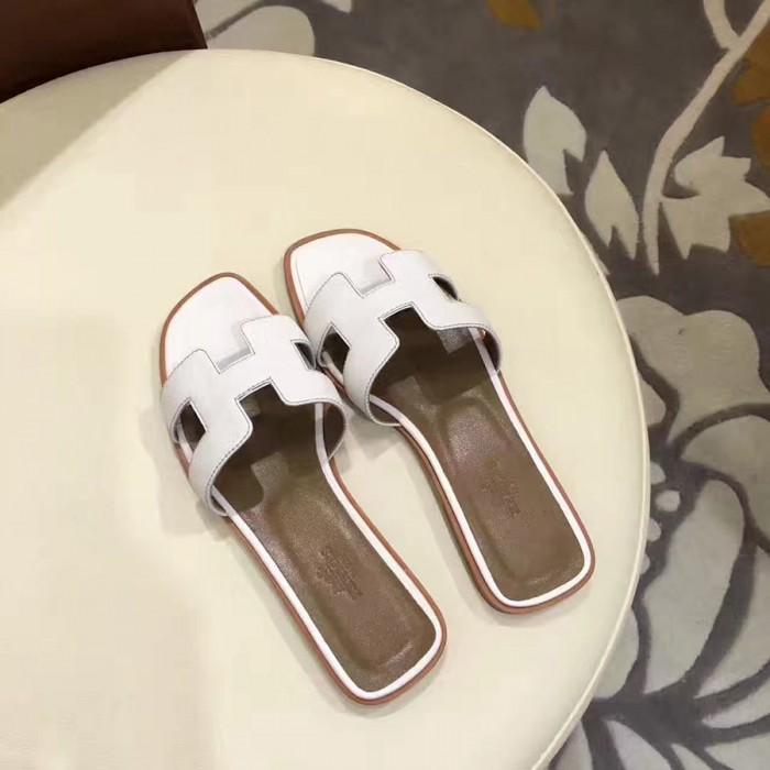 ffd2203878df Top Quality Original Design H Sandals Calf Leather White Slippers