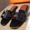 Original Black Oran H Sandals Calfskin Leather Slippers