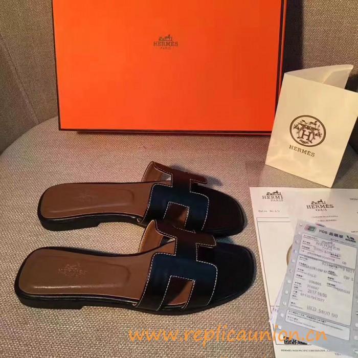 b598f3ec69f5 Original Black Oran H Sandals Calfskin Leather Slippers