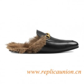 Top Quality Black Leather Princetown Leather Slipper