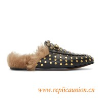 Original Quality Women's Studded Horsebit Fur Loafers in Black