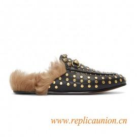Original Quality Women's Studded Horsebit Fur Loafers in Black