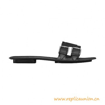 Top Quality Remake Mule Calfskin Sandals with Palladium Plated Buckles