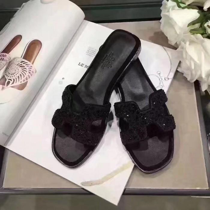 8c0301410fcb79 Original Oran H Sandals Calfskin Leather Slippers with Rhinestone Detail