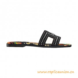 Top Quality Oran Sandals in Suede Goatskin with Palladium Plated Studs