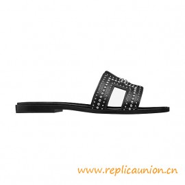 Top Quality Limited Oran Sandals Calfskin with Palladium Plated Studs