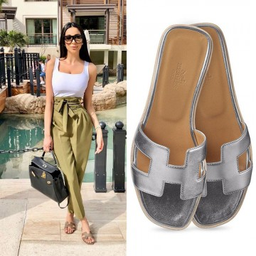 Top Quality Original Design H Sandals Calf Leather Silver or Gold Slippers
