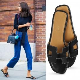 Top Quality Original Design H Sandals Calf Leather Charm Black Slippers