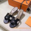 Top Quality Original Design H Sandals Calf Leather Charm Black Slippers