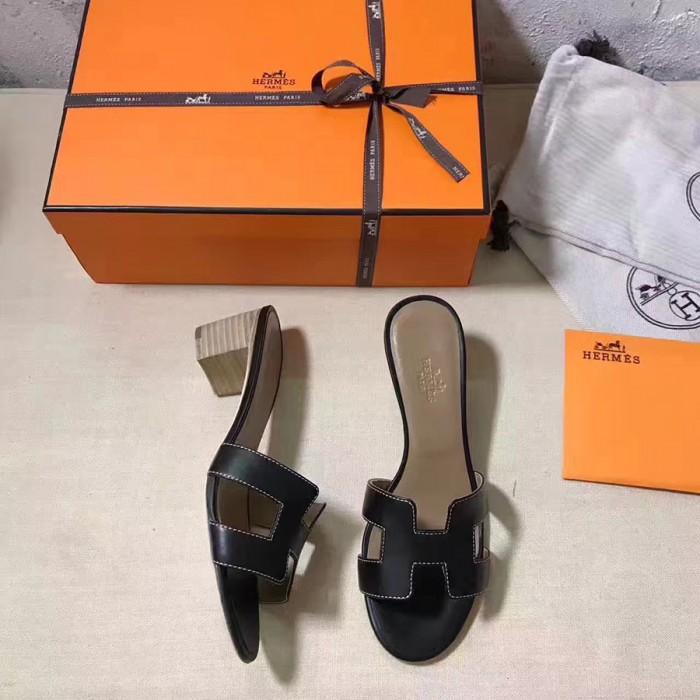 d39f433458f16 Top Quality Original Design H Sandals Calf Leather Charm Black Slippers