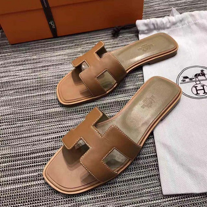 Original Calf Quality Slippers Leather Brown Top Design Sandals H CBxedo