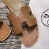 Top Quality Original Design H Sandals Calf Leather Brown Slippers