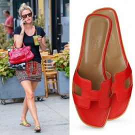 Top Quality Original Design H Sandals Calf Leather Sao Red Slippers