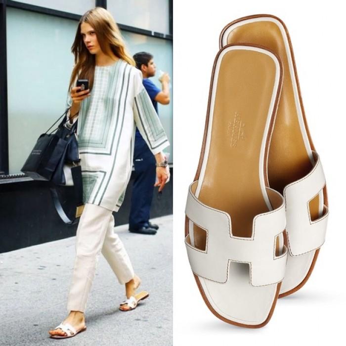 ebeaffc87f2e Top Quality Original Design H Sandals Calf Leather White Slippers