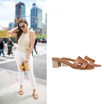 """Authentic Design Oasis Sandals in Calfskin Leather Sole 1.9"""" Stacked Heel"""